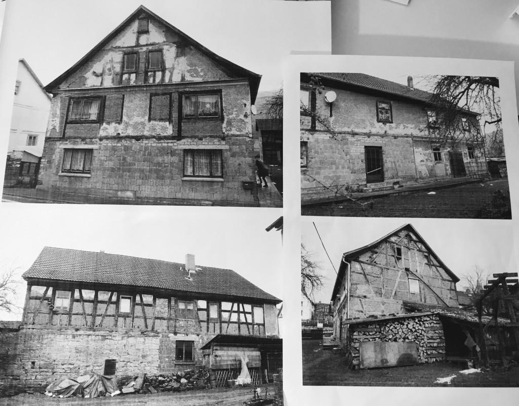 Das Objekt der Begierde: Straßenseite, Hofseite, vom Nachbargrundstück, Gartenseite (v.l.n.r.).