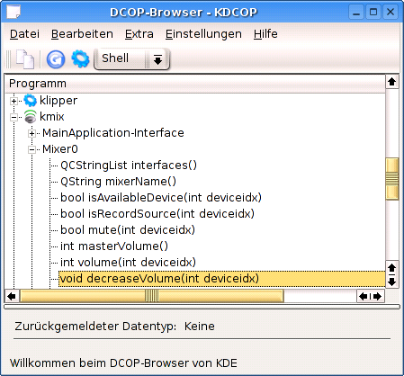 KDE dcop Browser