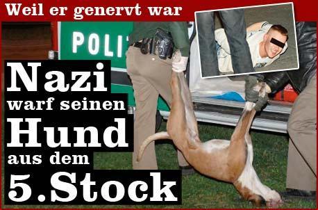 Nazi wirft Hund aus 5. Stock